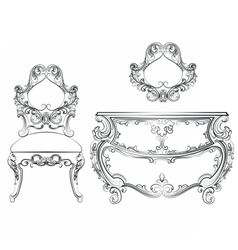 Baroque classic furniture set vector