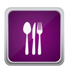 Purple emblem metal cutlery icon vector