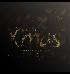 Xmas lettering made with golden snowflakes vector