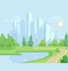 Spring or summer nature and green trees in city vector