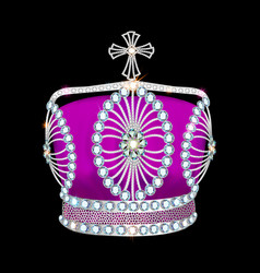 Shiny crown of silver platinum and precious stones vector