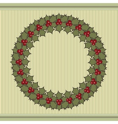 Retro christmas background with a wreath of holly vector