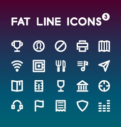 Fat Line Icons set 3 vector image
