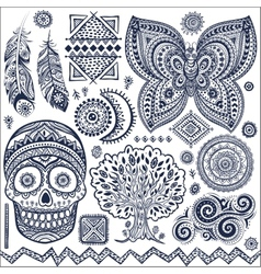 Set of ornamental tribal elements and symbols vector image