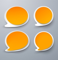 Paper set of rounded orange speech bubble vector