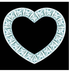 Diamond heart frame on black background vector