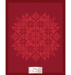 Christmas greeting card with knitted snowflake vector