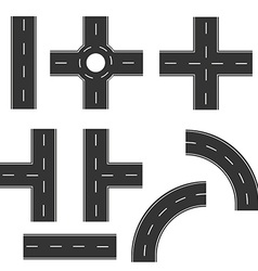 Road elements set vector