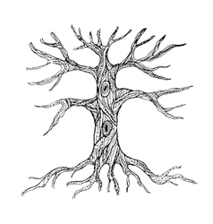 Ornate bare tree trunk with roots vector