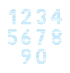 Blue watercolor number set1 vector