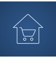 House shopping line icon vector