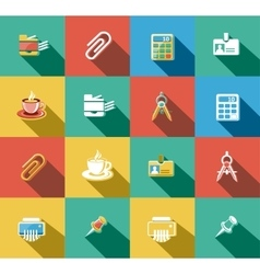 Business and office flat icons set vector