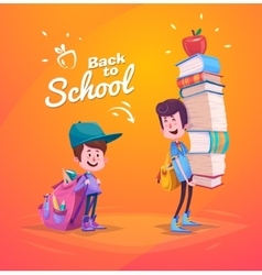 Back to school Two cute schoolchild with supplies vector image