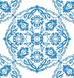 Blue and white round floral background vector image