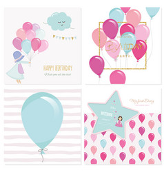 Cartoon birthday card templates for girls vector