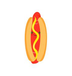 Cartoon hotdog with mustard vector