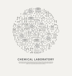 circle poster chemical lab vector image vector image