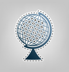 Earth globe sign blue icon with outline vector