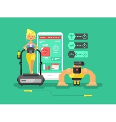 Ffitness app man and woman flat design vector image vector image