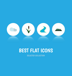 Flat icon natural set of tributary peak cattail vector