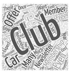 How much do car clubs cost word cloud concept vector