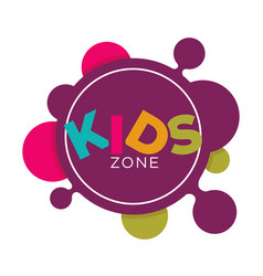 Kids zone logo template of child palm hands and vector