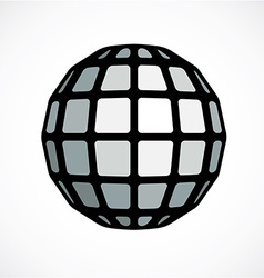 Monochrome faceted orb created from squares vector image vector image
