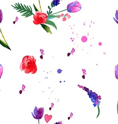 Painted bouquet tulips flowers v vector image vector image