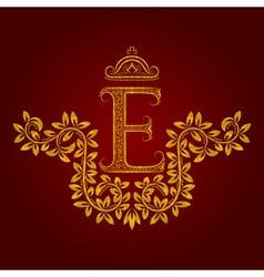 Patterned golden letter e monogram in vintage vector