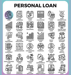 personal loan icons vector image vector image
