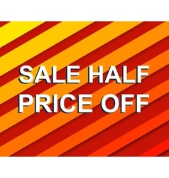 Red striped sale poster with sale half price off vector