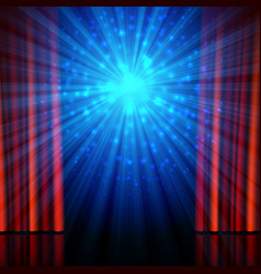 Stage spotlights and red open curtains theatrical vector