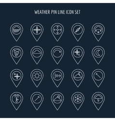 Weather line map pins vector image vector image