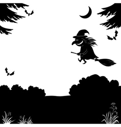 Witch flying over the forest silhouette vector image vector image