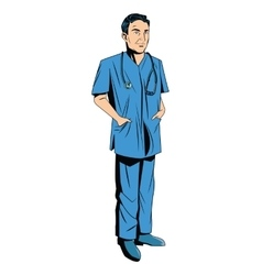 Doctor cartoon with uniform vector