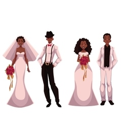 African american just married couple set of vector