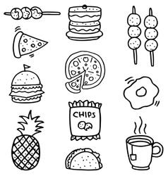 Doodle of food set element stock vector