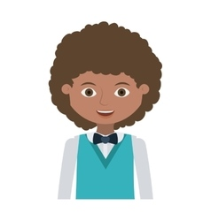 Half body man young with wavy hair and formal suit vector