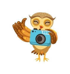 Tourist owl with camera cute cartoon character vector