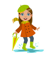 girl in green beret with umbrella kid in autumn vector image