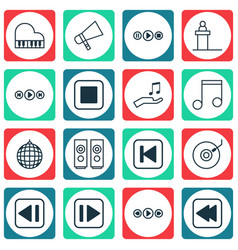 set of 16 audio icons includes song ui octave vector image