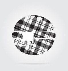 Grayscale tartan icon - hamburger melted cheese vector