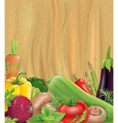 Vegetables on wooden board vector image