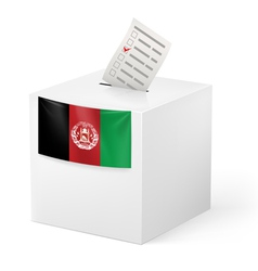 Ballot box with voting paper afghanistan vector