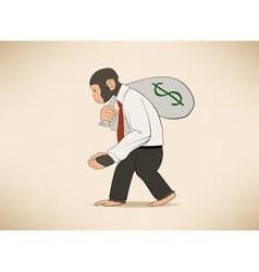 Monkey with money sack vector image