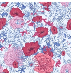 Gentle retro summer seamless floral pattern vector