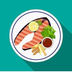 Grilled salmon steak with french fries vector