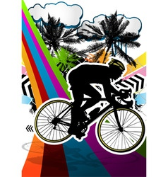 Cyclist summer background vector