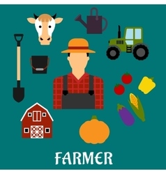 Farmer with flat agriculture icons vector