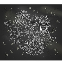 Chalk i love you doodles on blackboard background vector